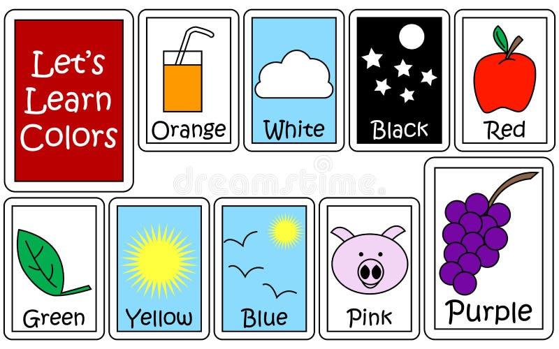 Set av färg Flashcards royaltyfri illustrationer