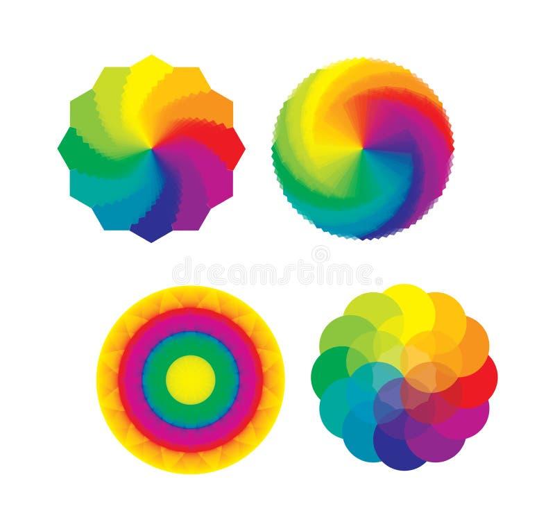 Set av färghjul/mångfärgad blomma av livstid stock illustrationer