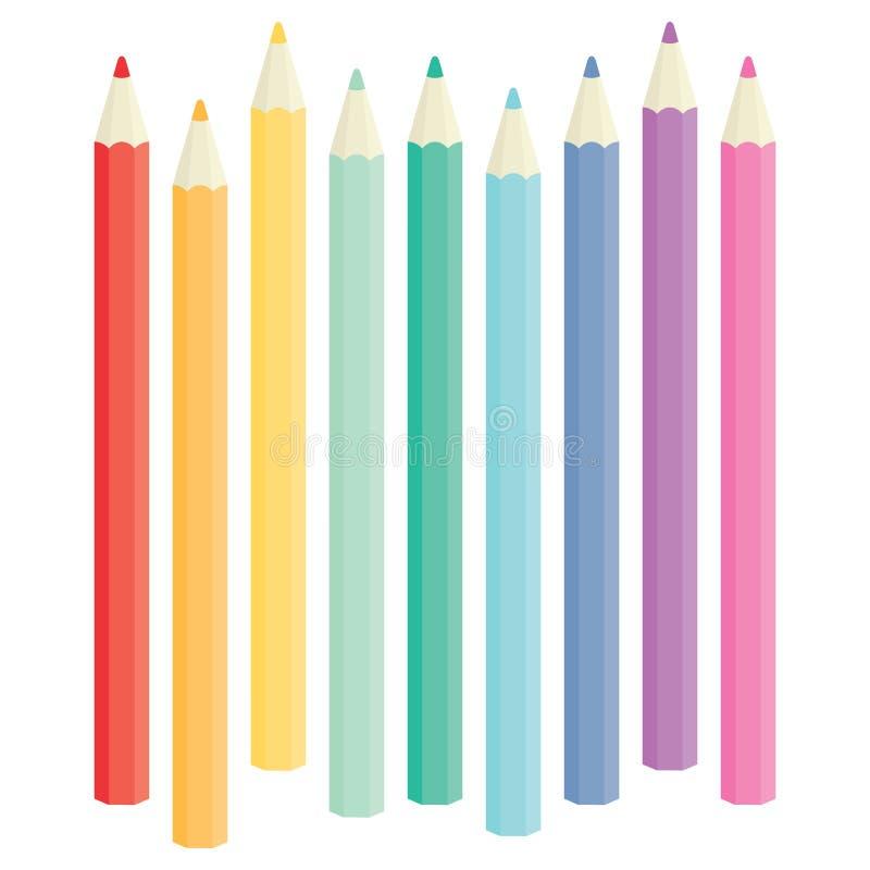 Set av färgläggningblyertspennor vektor illustrationer