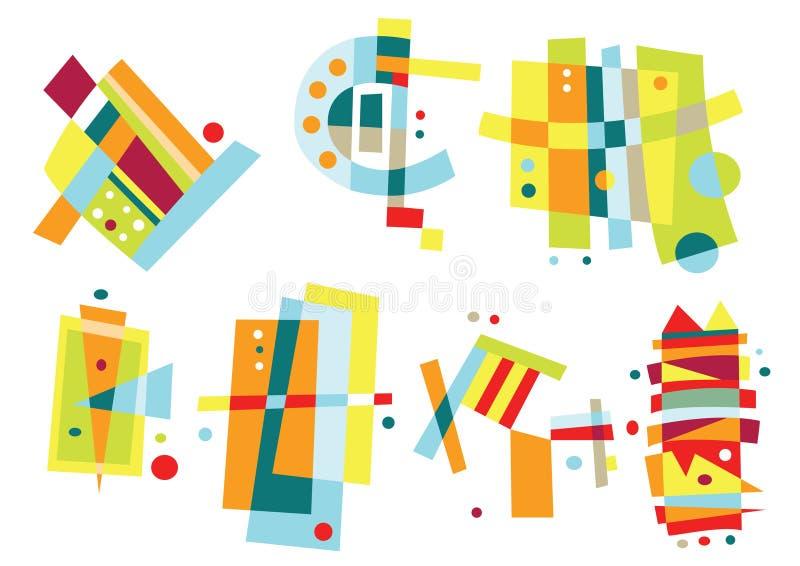 Set av färgrika abstrakt element vektor illustrationer