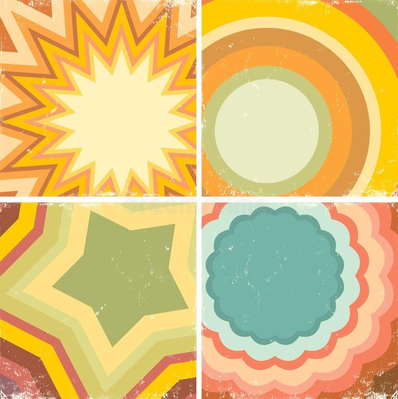 Set av färgrika affischer vektor illustrationer