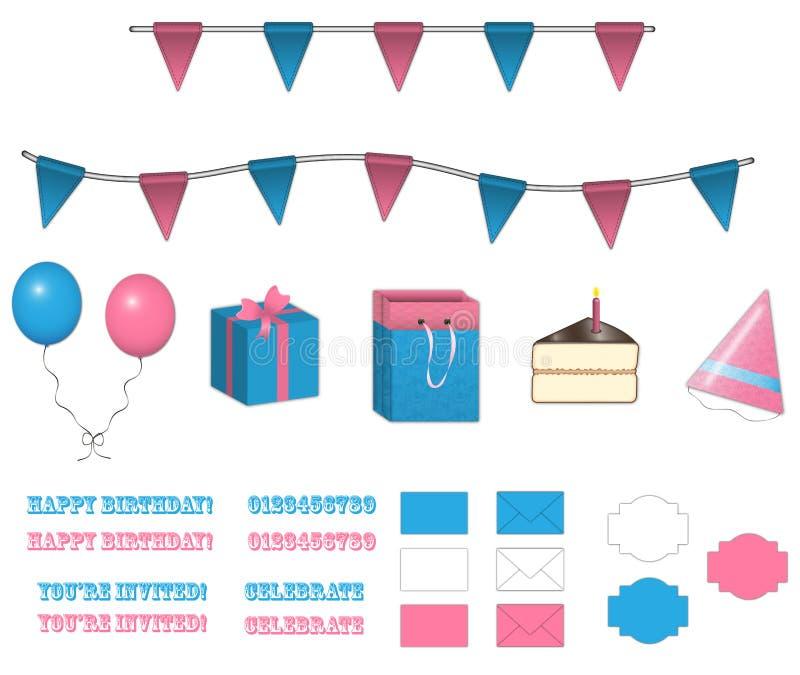 Set av födelsedagobjekt vektor illustrationer