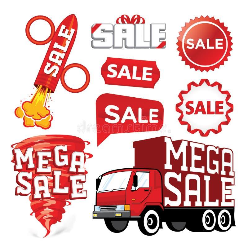 Set av försäljningsvektorn royaltyfri illustrationer