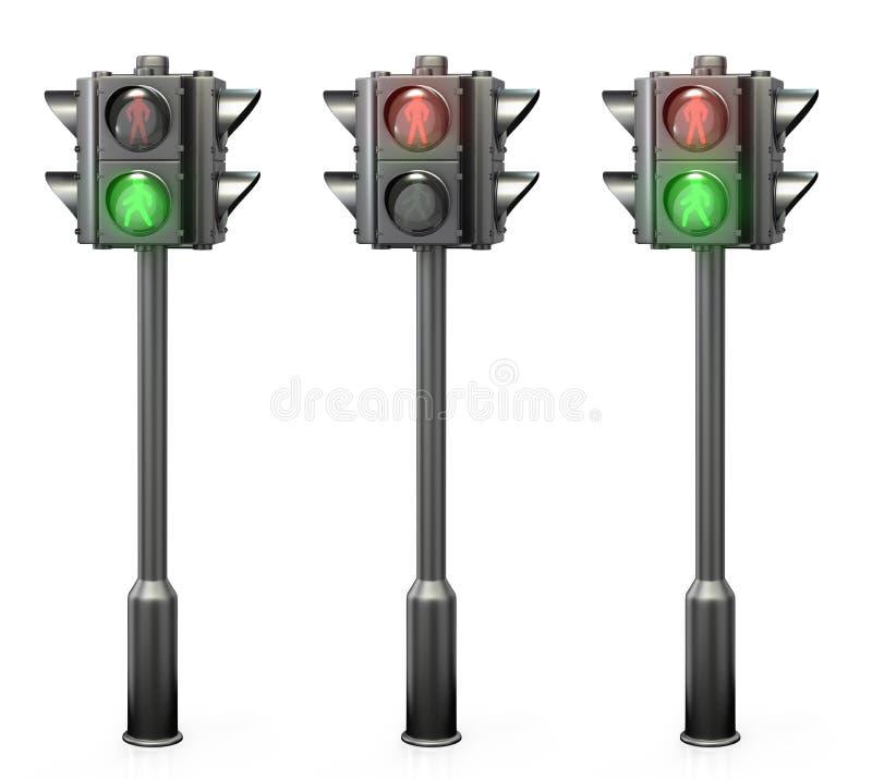 Set av fot- trafikljus royaltyfri illustrationer