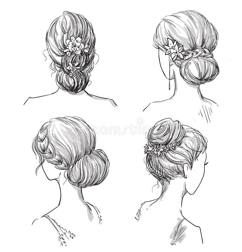 Set av frisyrer Brud- frisyr tecknad hand stock illustrationer