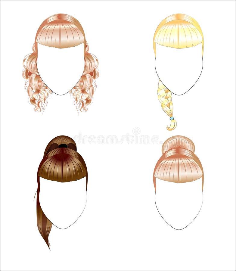 Set av frisyrer vektor illustrationer