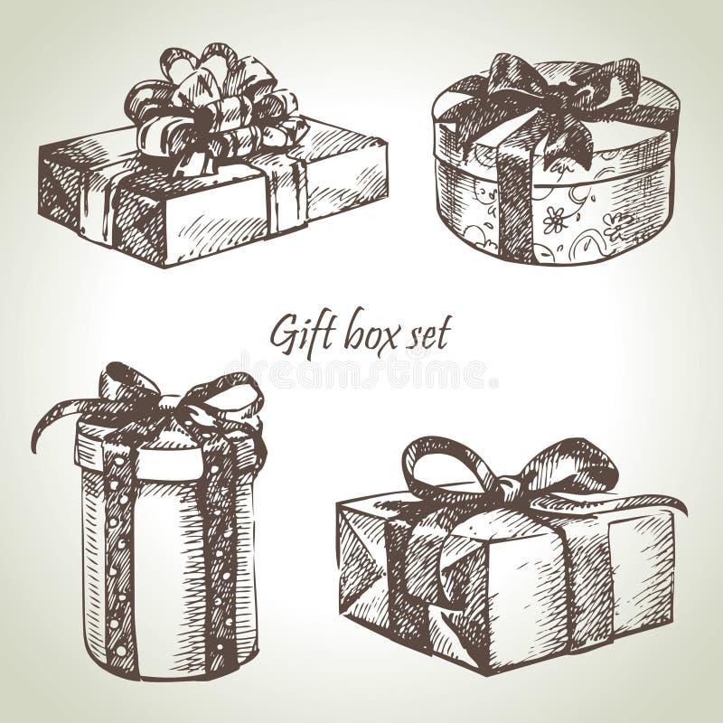 Set av gåvaaskar stock illustrationer