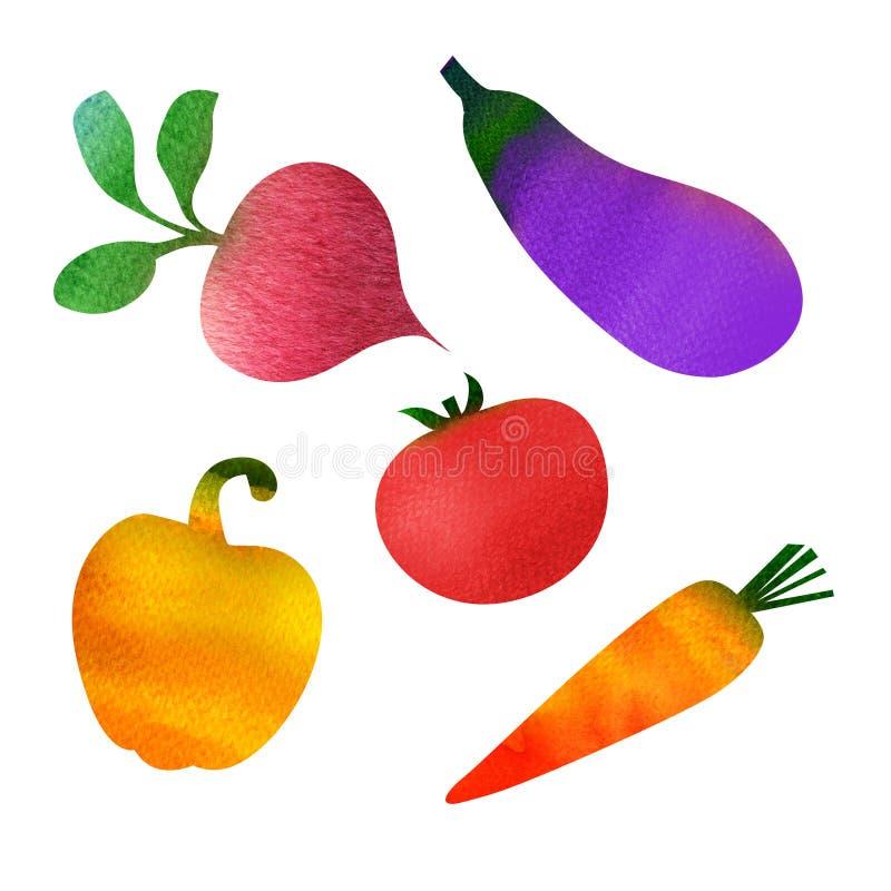 Set av grönsaker som isoleras på white royaltyfri illustrationer