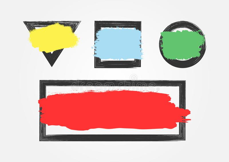 Set av grungebakgrunder Isolerade ramar med kulöra vattenfärgpenseldrag vektor illustrationer