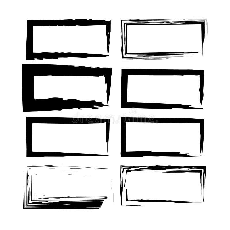 Set av grungeramar också vektor för coreldrawillustration stock illustrationer