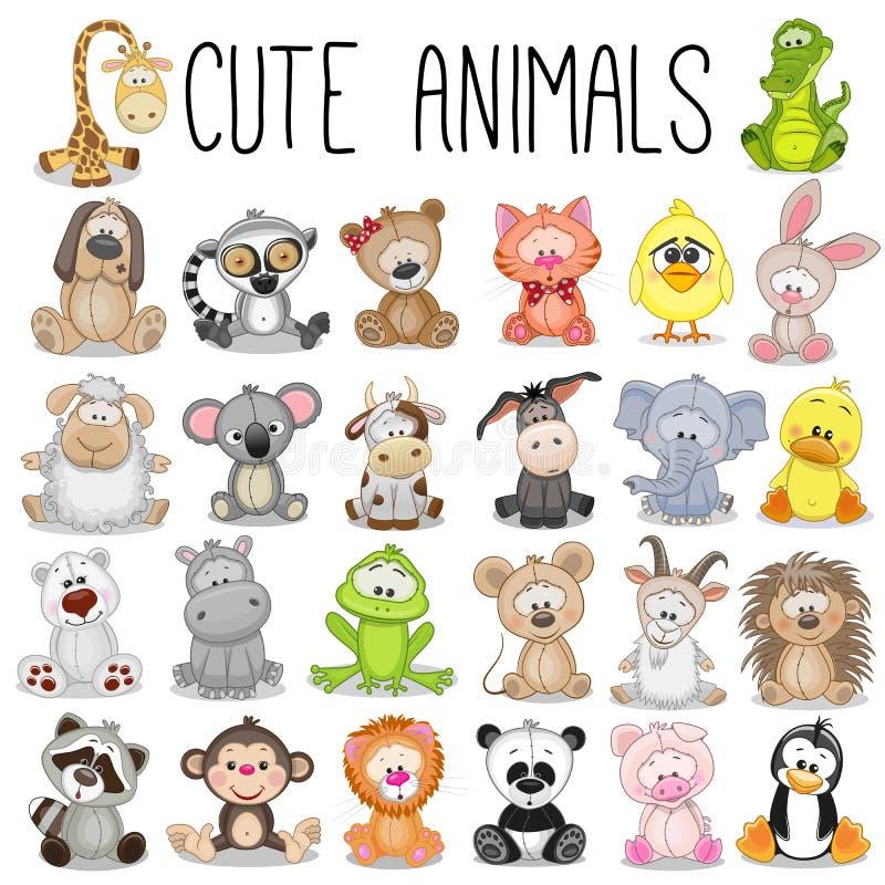 Set av gulliga djur stock illustrationer