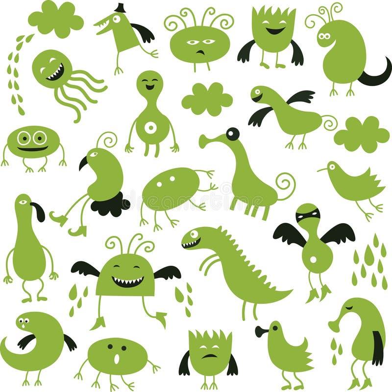 Set av gulliga monster royaltyfri illustrationer