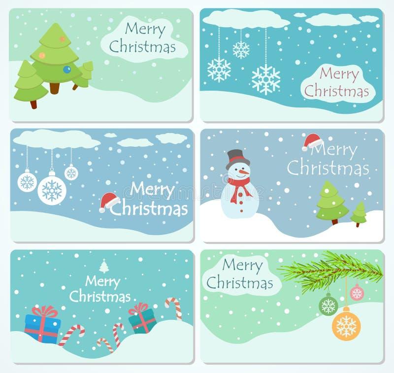 Set av julkort stock illustrationer