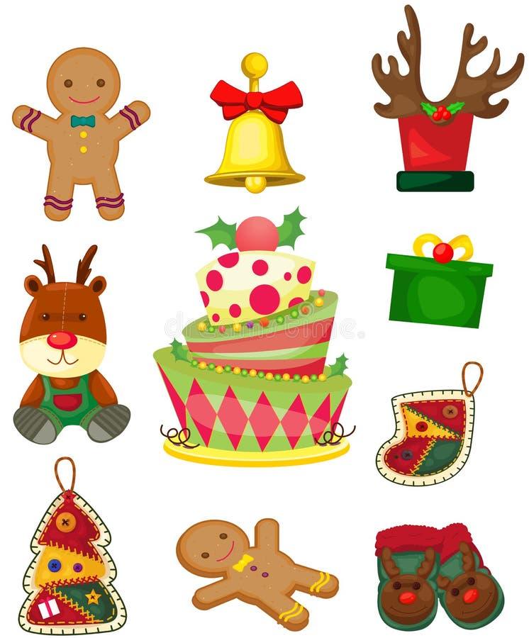 Set av julobjekt royaltyfri illustrationer