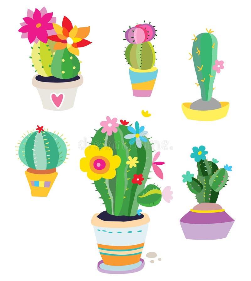 Set av kaktusväxter stock illustrationer