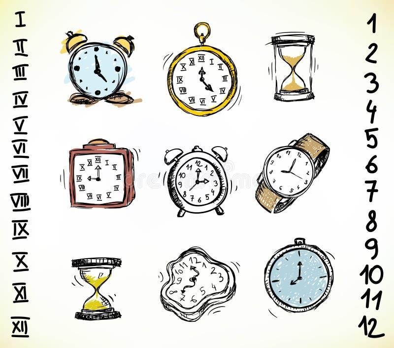 Set av klockor stock illustrationer