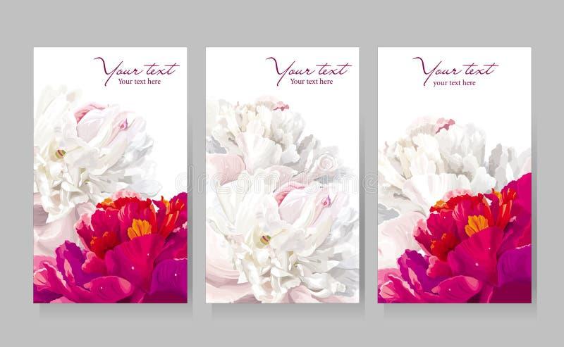 Set av kort för pionblommahälsning royaltyfri illustrationer