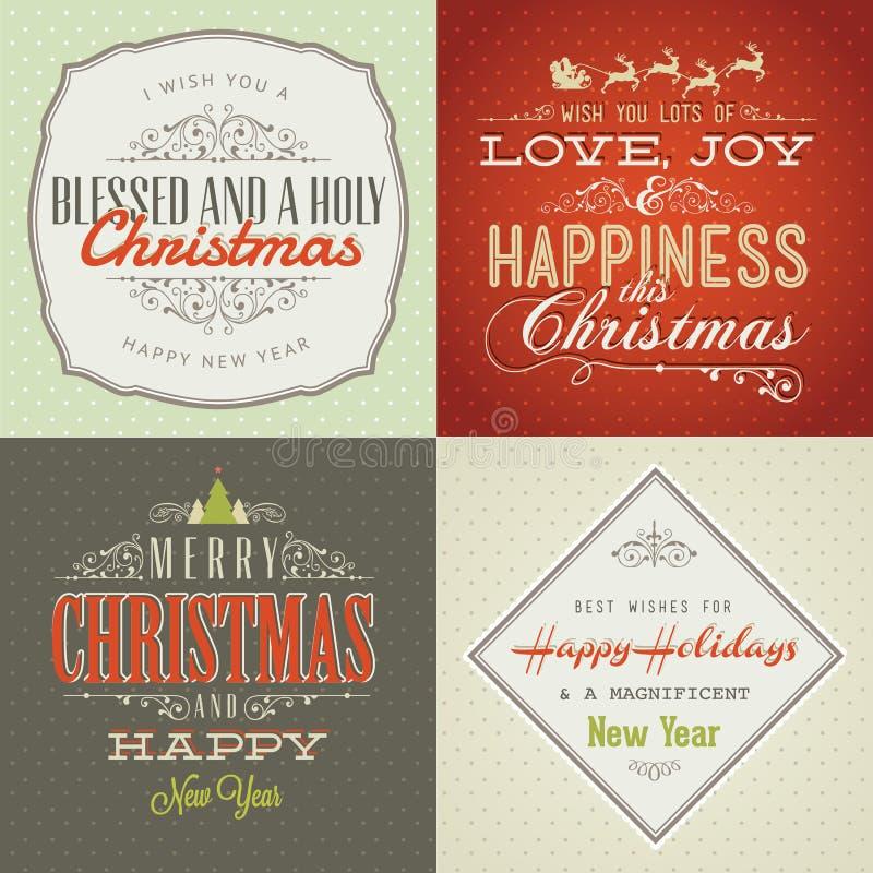 Set av kort för tappning utformad jul och för nytt år royaltyfri illustrationer