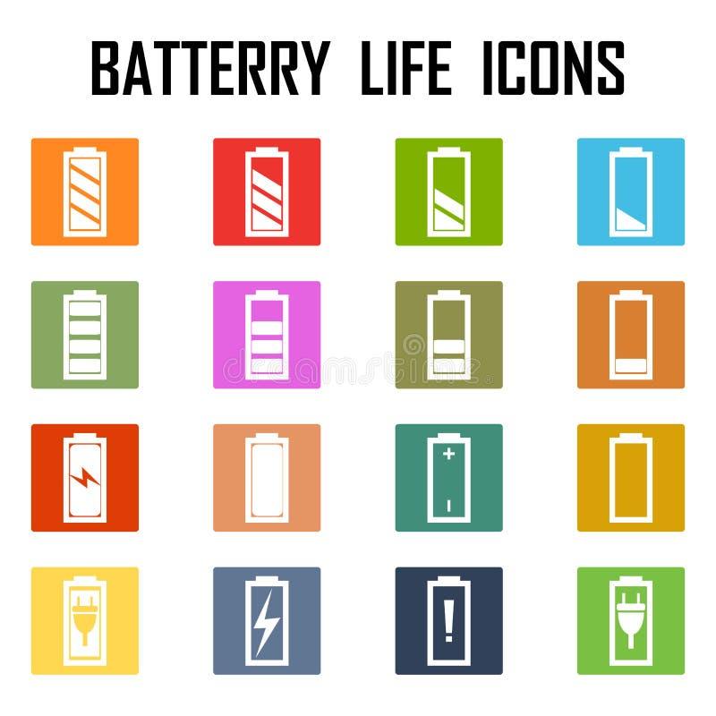 Set av level indikatorer för batteriladdning vektor illustrationer