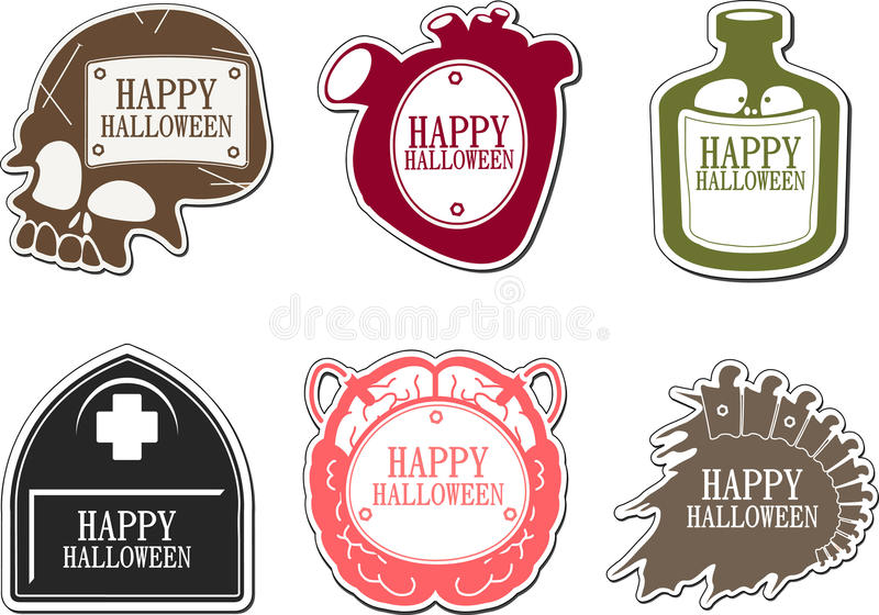 Set av lyckliga Halloween etiketter stock illustrationer