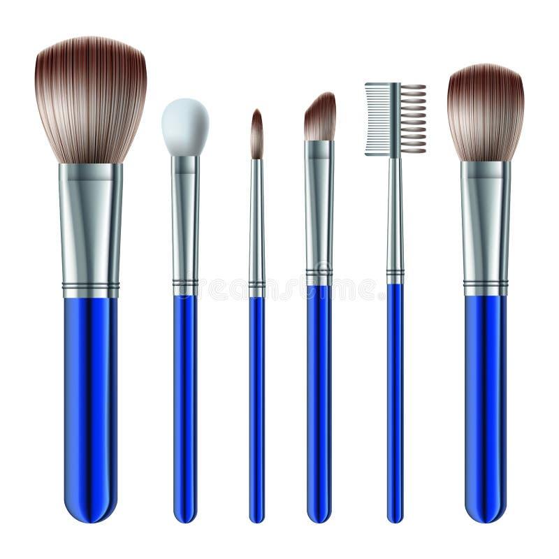 Set av makeupborstar royaltyfri illustrationer