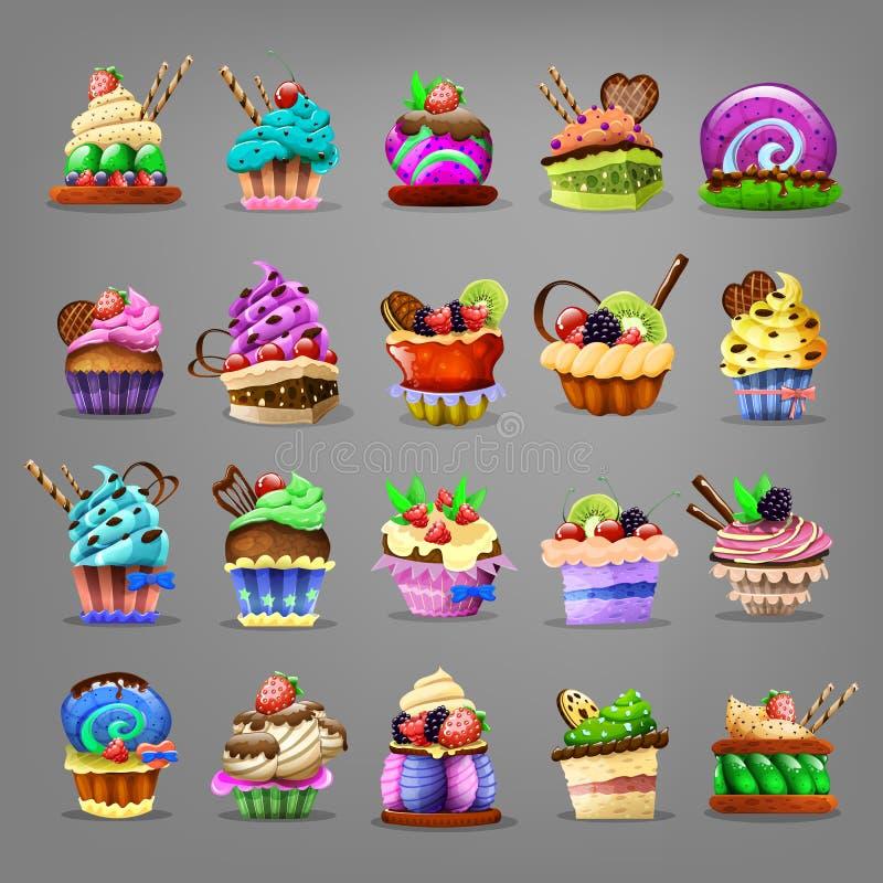 Set av muffin vektor illustrationer