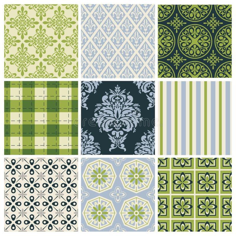Set av nio färgrika seamless modeller stock illustrationer
