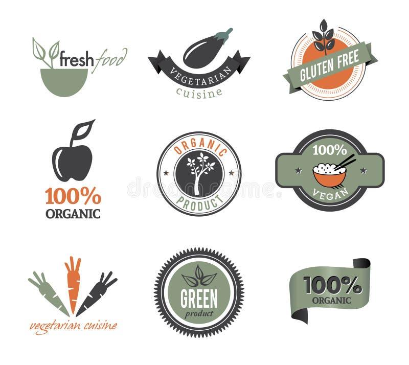 Set av organiska symboler och stämplar stock illustrationer
