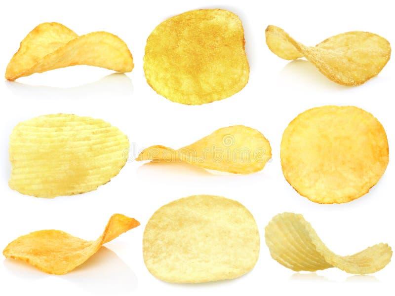 Set av potatischiper arkivfoton