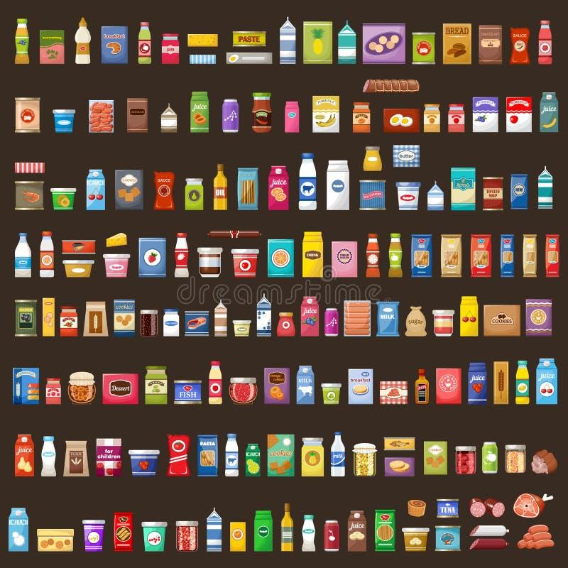 Set av produkter supermarket Mat royaltyfri illustrationer
