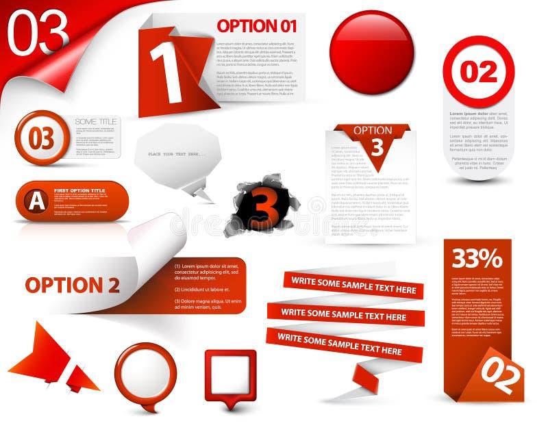 Set av röda vektorprogresssymboler royaltyfri illustrationer