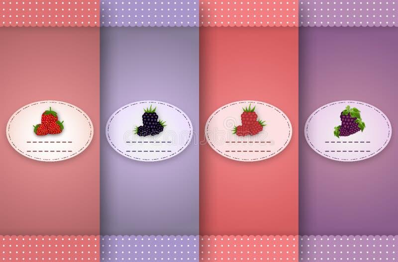 Set av retro etiketter royaltyfri illustrationer