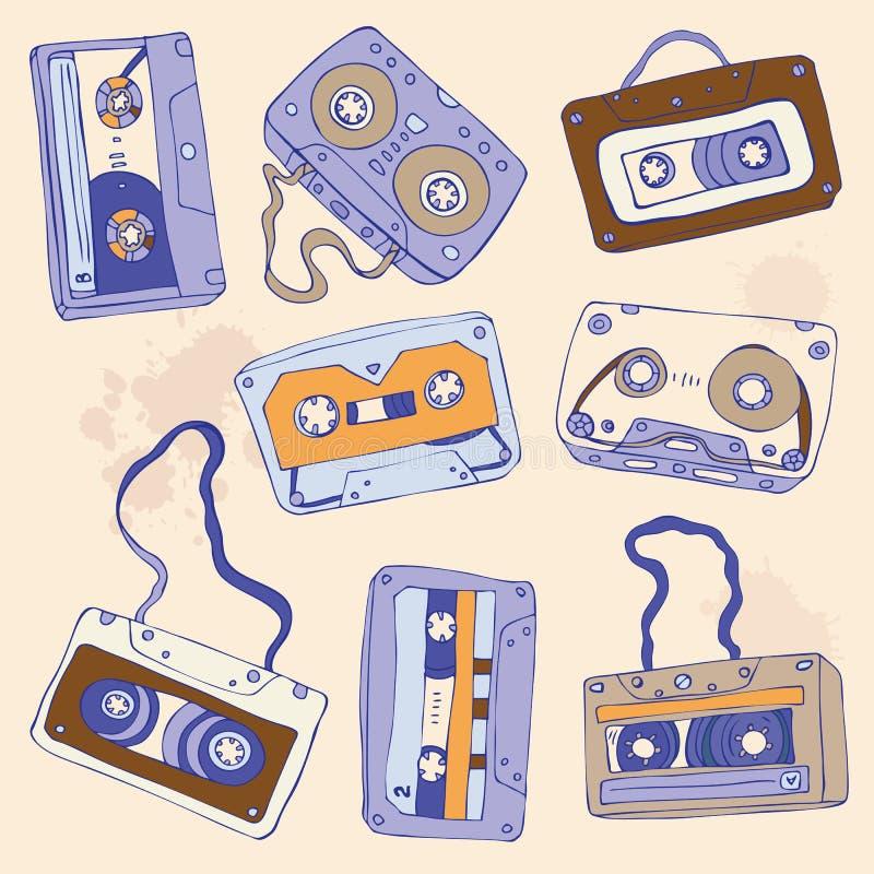 Set av retro kassettband royaltyfri illustrationer