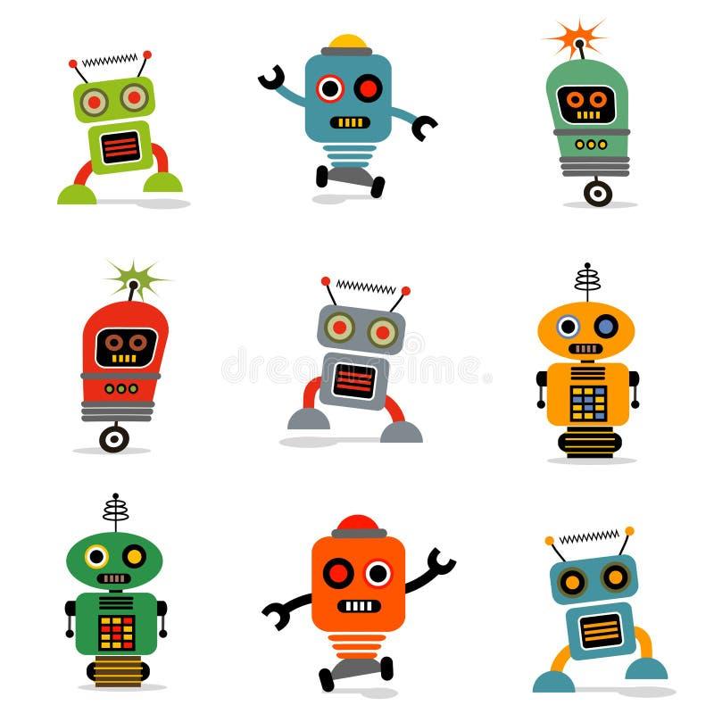 Set av robotar 1 vektor illustrationer