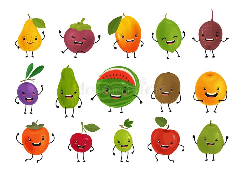 Set av roliga frukter Nytt matbegrepp den främmande tecknad filmkatten flyr illustrationtakvektorn vektor illustrationer