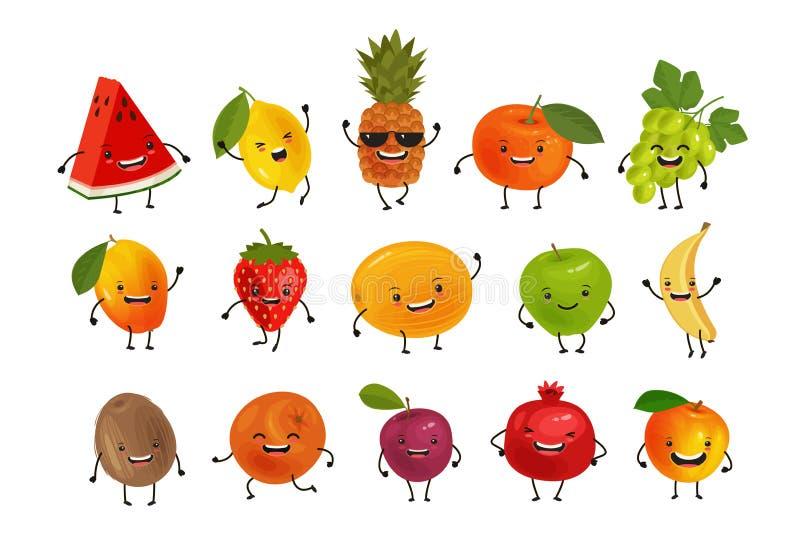 Set av roliga frukter olivgrön för olja för kök för kockbegreppsmat ny över hällande restaurangsallad den främmande tecknad filmk vektor illustrationer