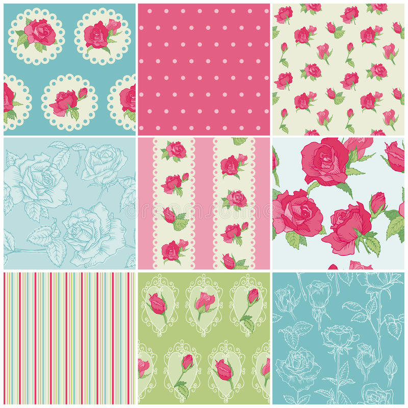 Download Set Av Seamless Blom- Rose Bakgrunder Vektor Illustrationer - Illustration av kort, lyckligt: 27281315