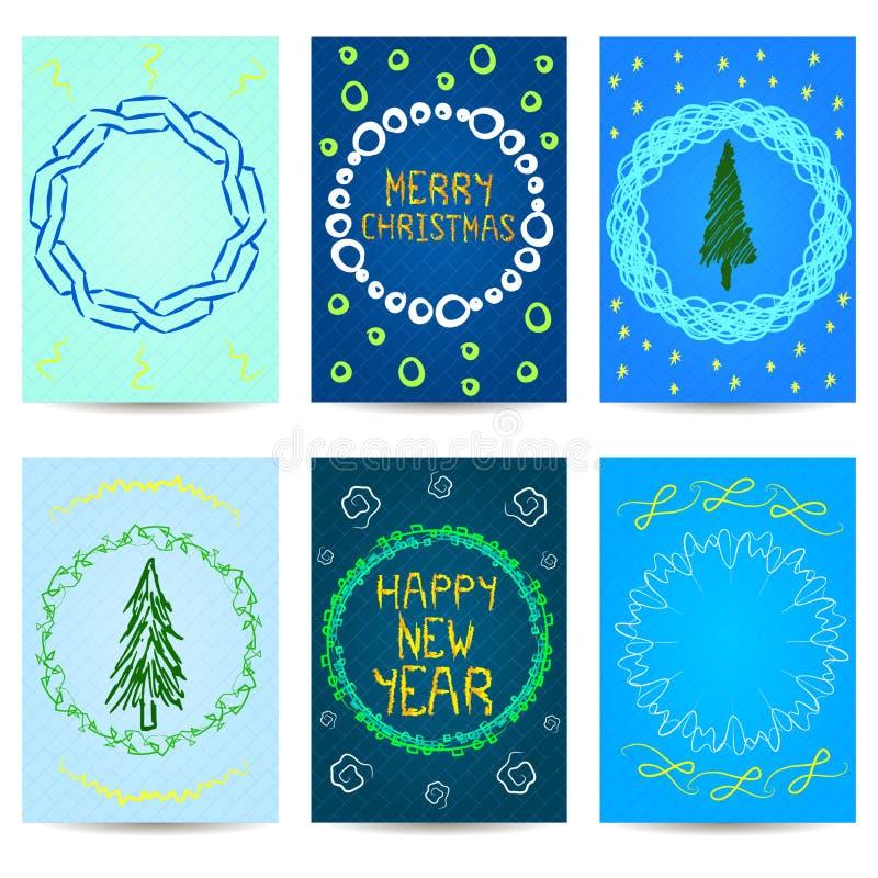 Set av sex julkort nytt år för design vektor illustrationer