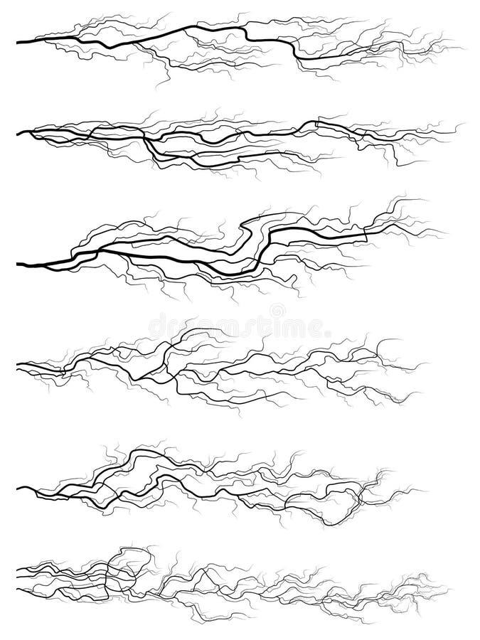 Set av silhouettes av thunderstormblixt. stock illustrationer