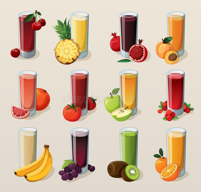 Set av smakliga nya sammanpressade fruktsaftar. royaltyfri illustrationer
