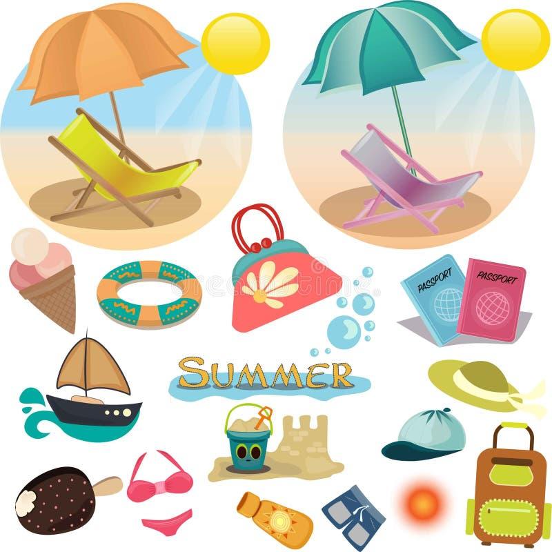 Set av sommarsymboler Semester i vektor stock illustrationer