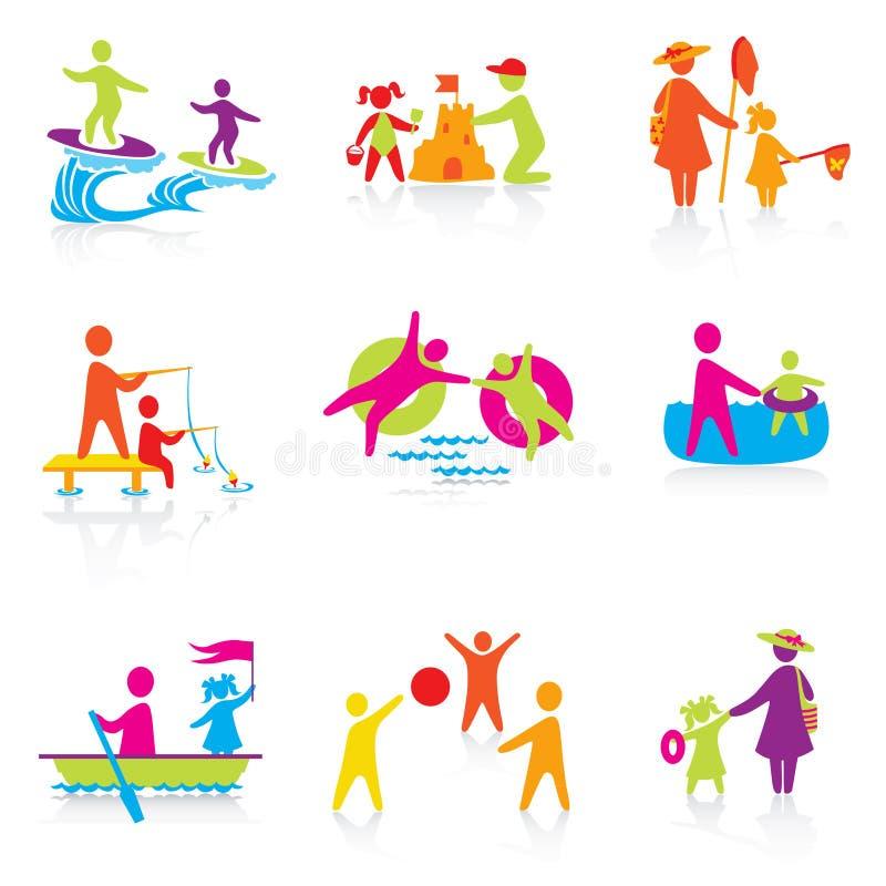 Download Set Av Symboler - Sommartid Vektor Illustrationer - Illustration av mänskligt, folk: 27282112