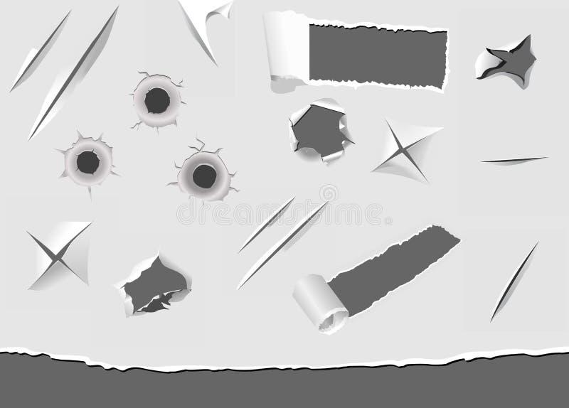 Set av torned och skadlig papper vektor illustrationer