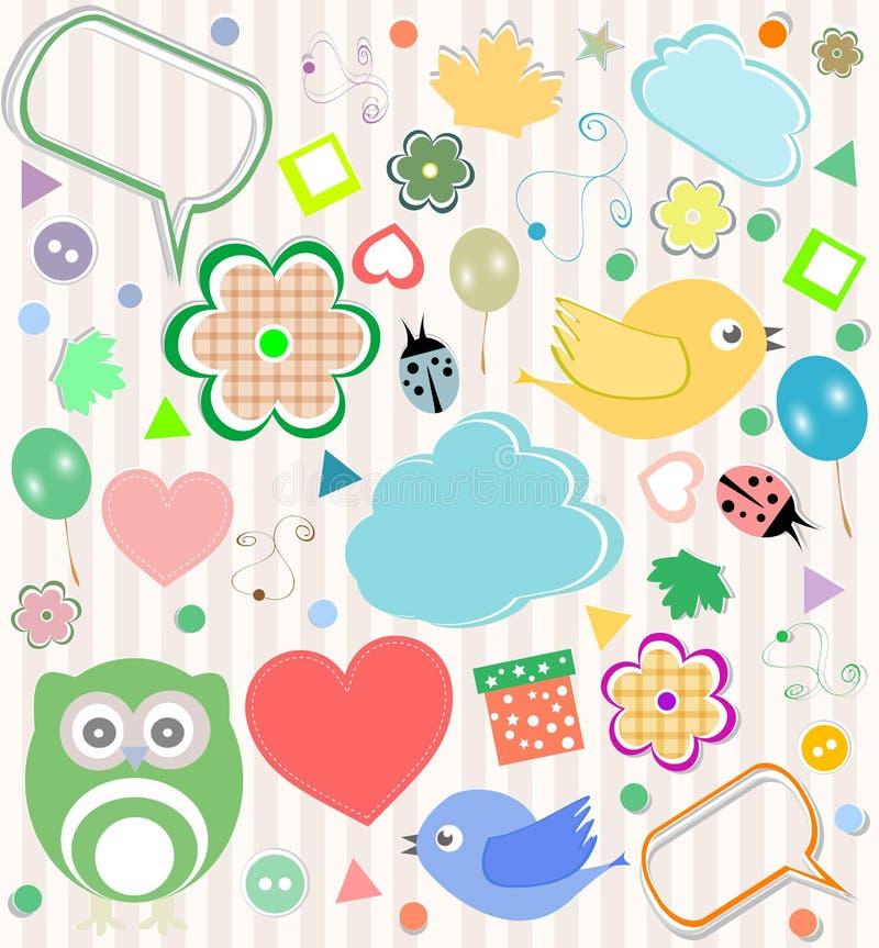 Set av vektorelementowls, fåglar, blommor royaltyfri illustrationer