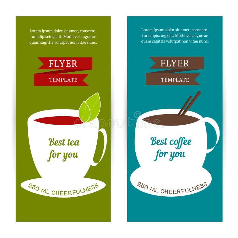 Set av vertikala baner Reklambladmall med kaffe- och tebegrepp vektor illustrationer