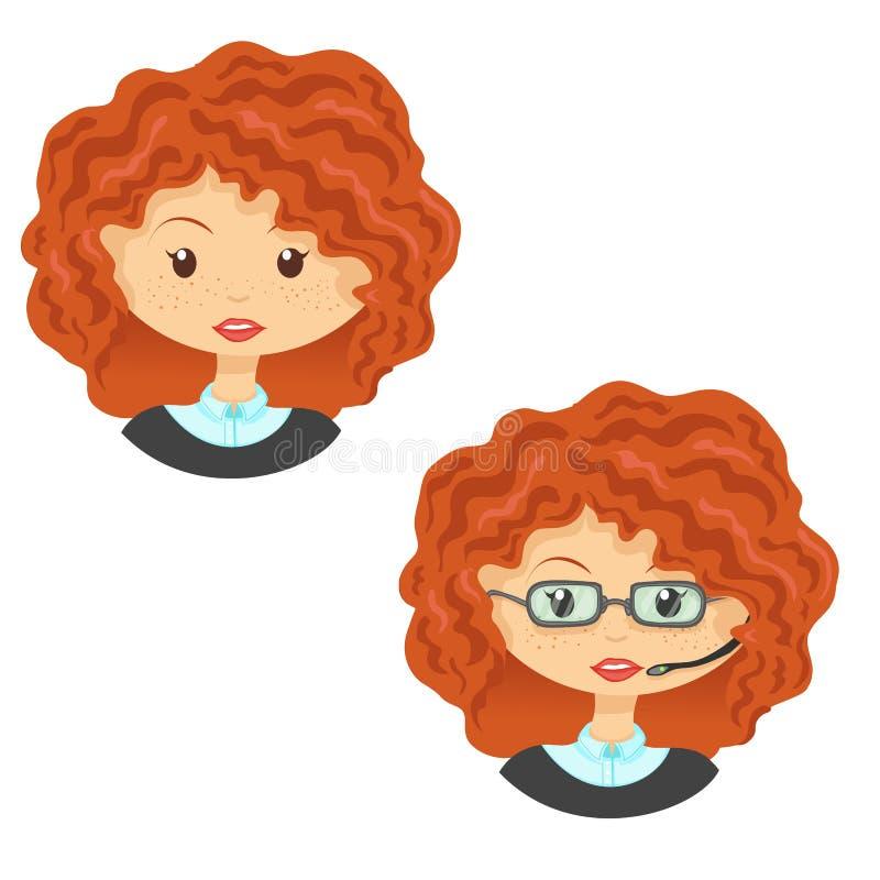 Set of avatar cute cartoon ginger girl in glasses vector illustration