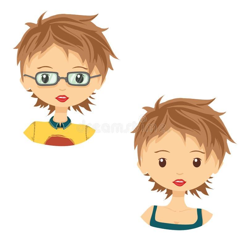 Set of avatar cute cartoon girl in glasses vector illustration