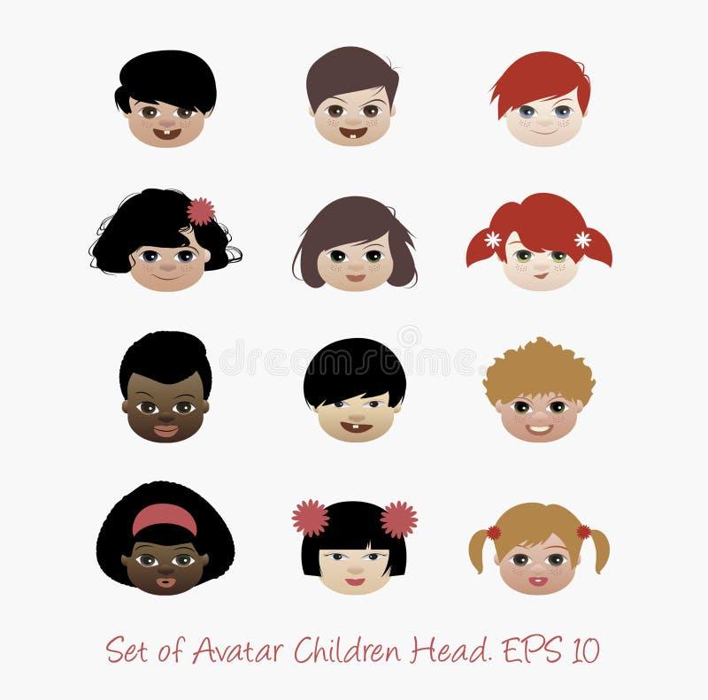 Set avatar dzieci głowa ilustracja wektor