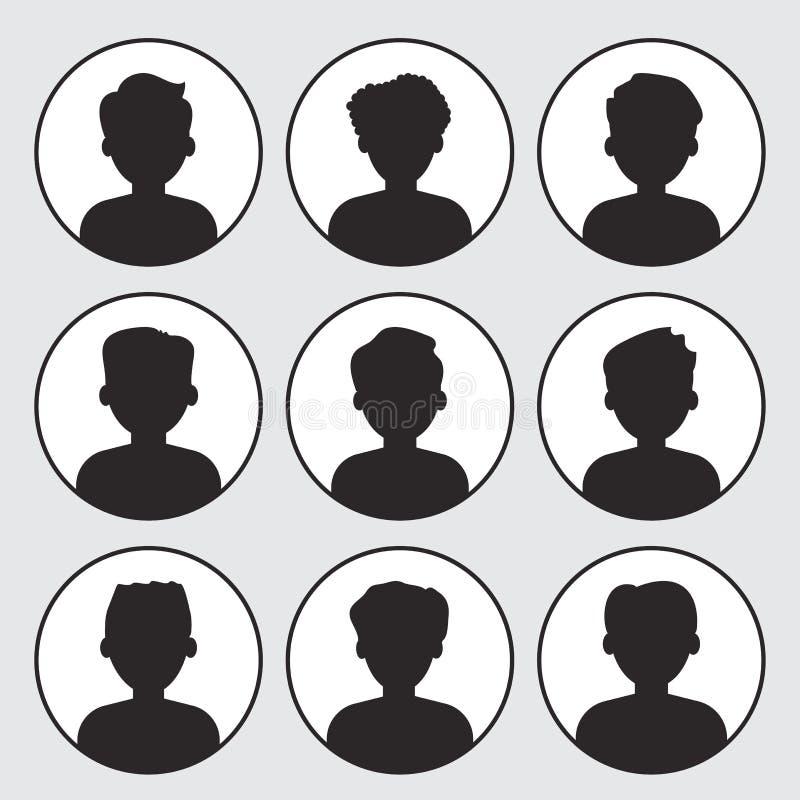 Set of avatar profile picture icon. Black silhouettes on white background. Portraits men. Vector illustration stock illustration