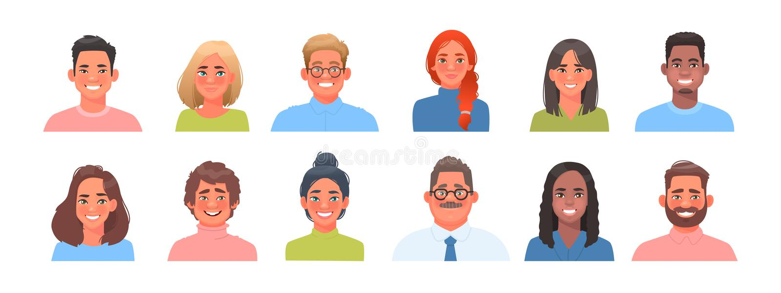 Set of avatars of characters of business men and women of different nationalities. Collection of portraits of multicultural people royalty free illustration